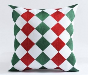 Oly Home Luxury Merry Christmas Embroidery Throw Pillow Cushion Cover. Seasonal Red and Green colors